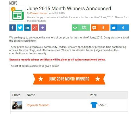 Winner of June 2015