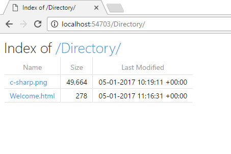 Directory Browsing in ASP.NET Core 1,0