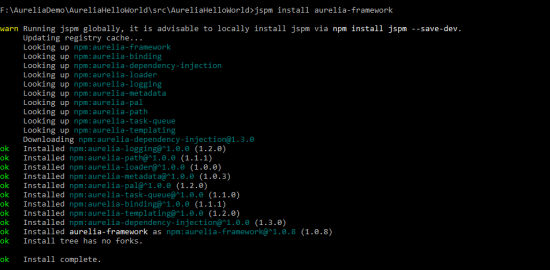 Aurelia Framework Installation
