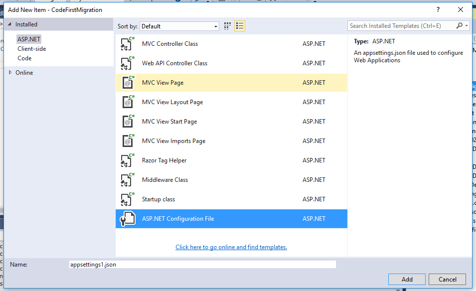 Code First Migration : ASP NET Core MVC 6 With